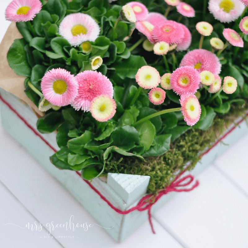 Blumengrüße in der Obstkiste - Frühlings-Upcycling-DIY