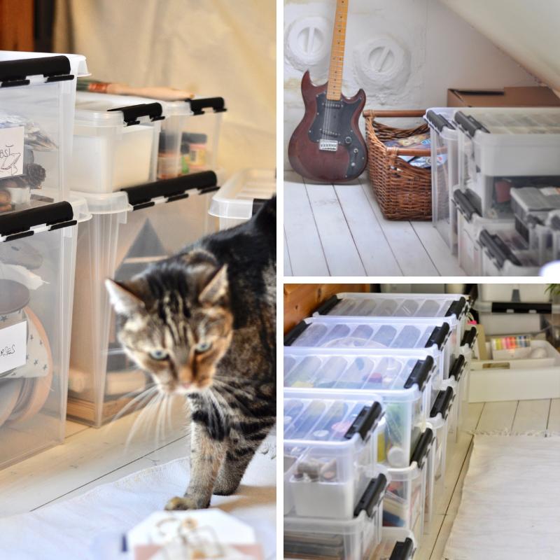 Dachboden aufgeräumt mit Ordnungsboxen
