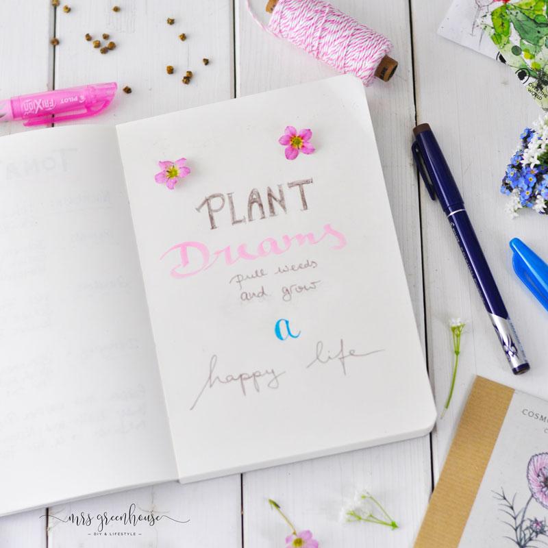 Lettering Sprüche in Garten Journal schreiben