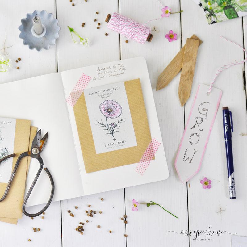 Samentütchen in Garten Journal einkleben