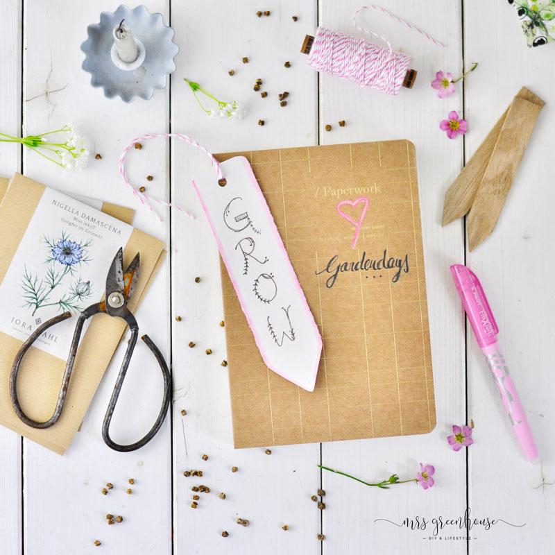 Garten Journal mit Lesezeichen selbermachen