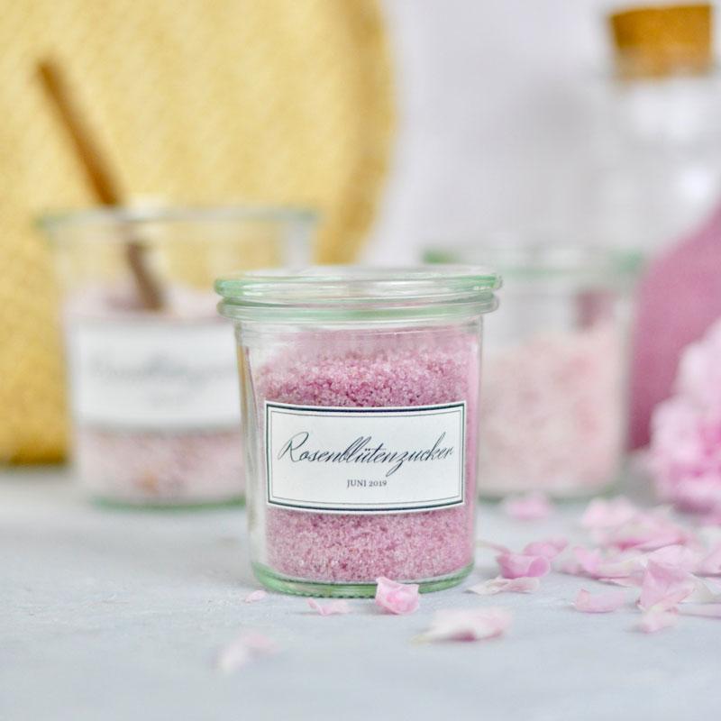 Rezept für Rosenblütenzucker