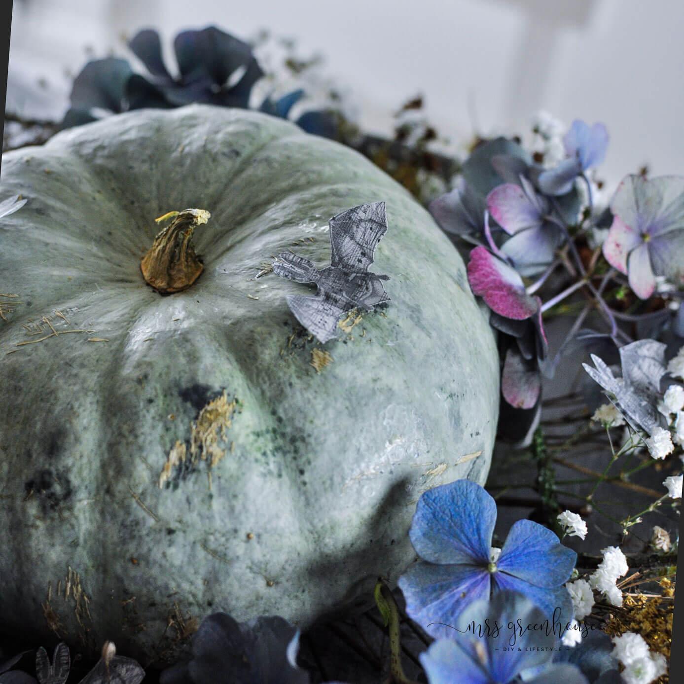 Fledermäuse Dekoration auf Halloween Kürbis