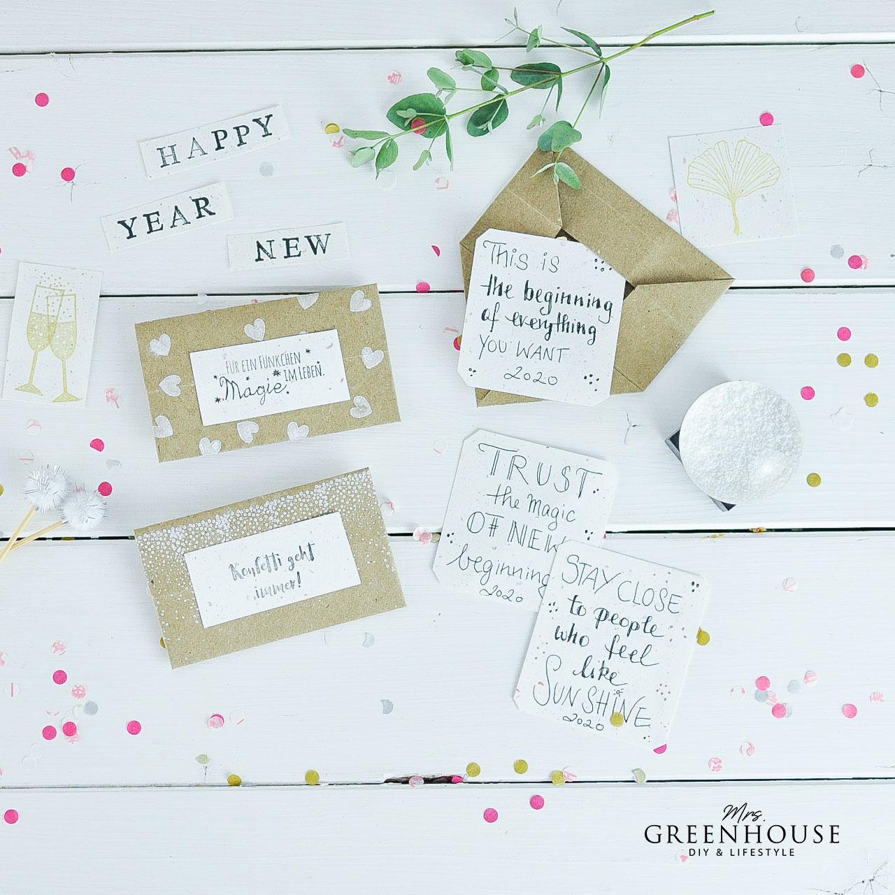 Origami Briefe zum neuen Jahr