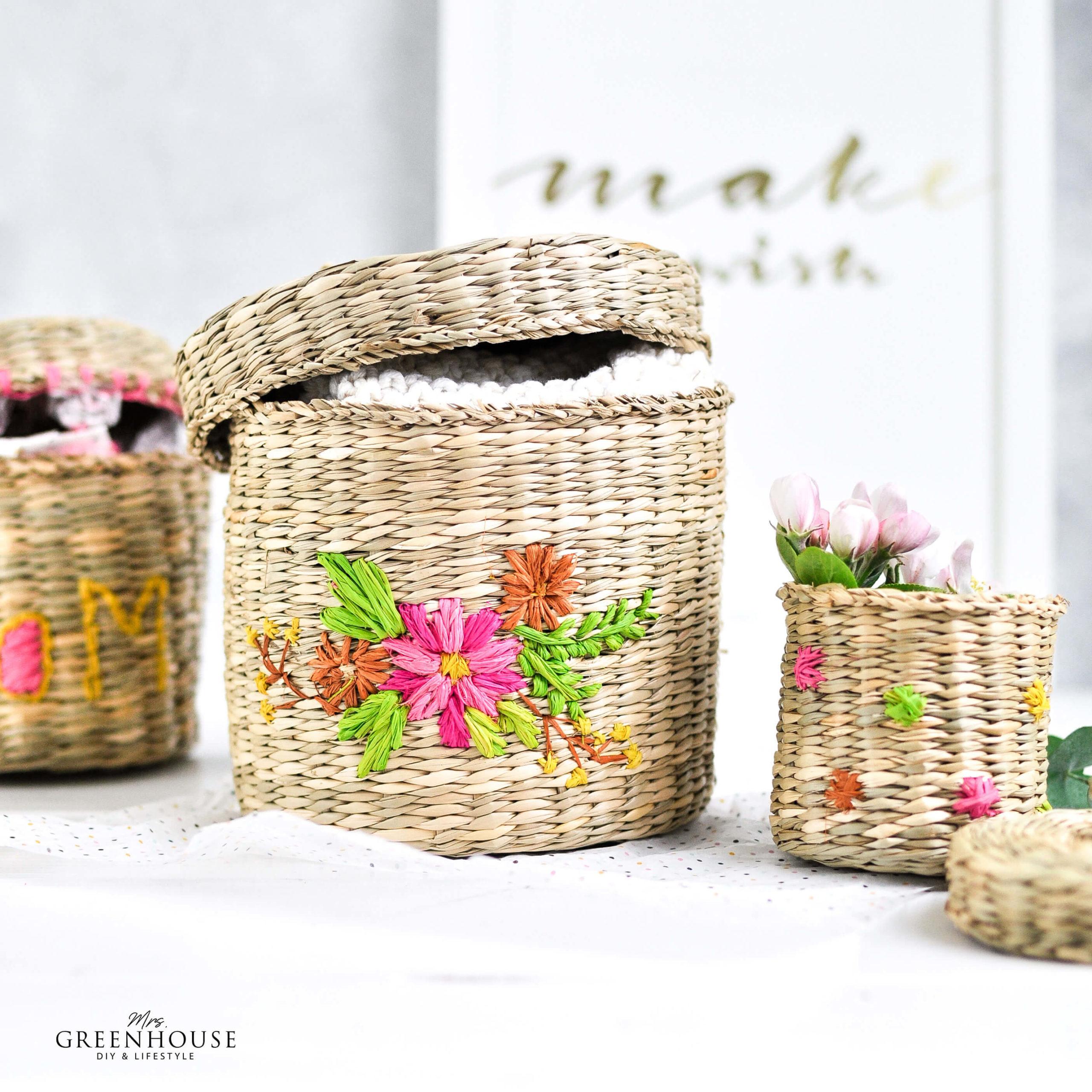 Körbe mit Blumen besticken