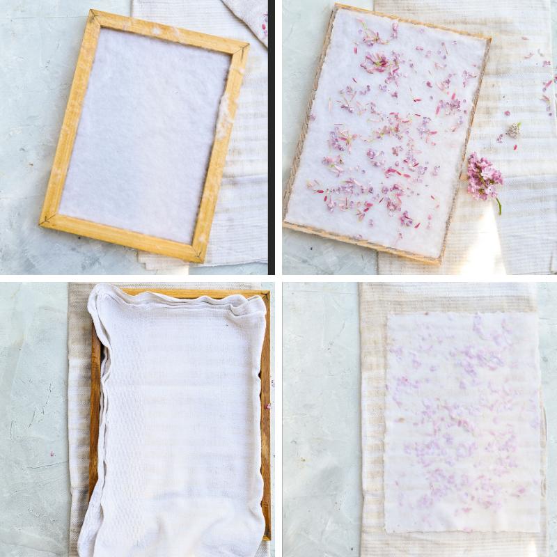 Papier schöpfen mit Kaffee und Blüten