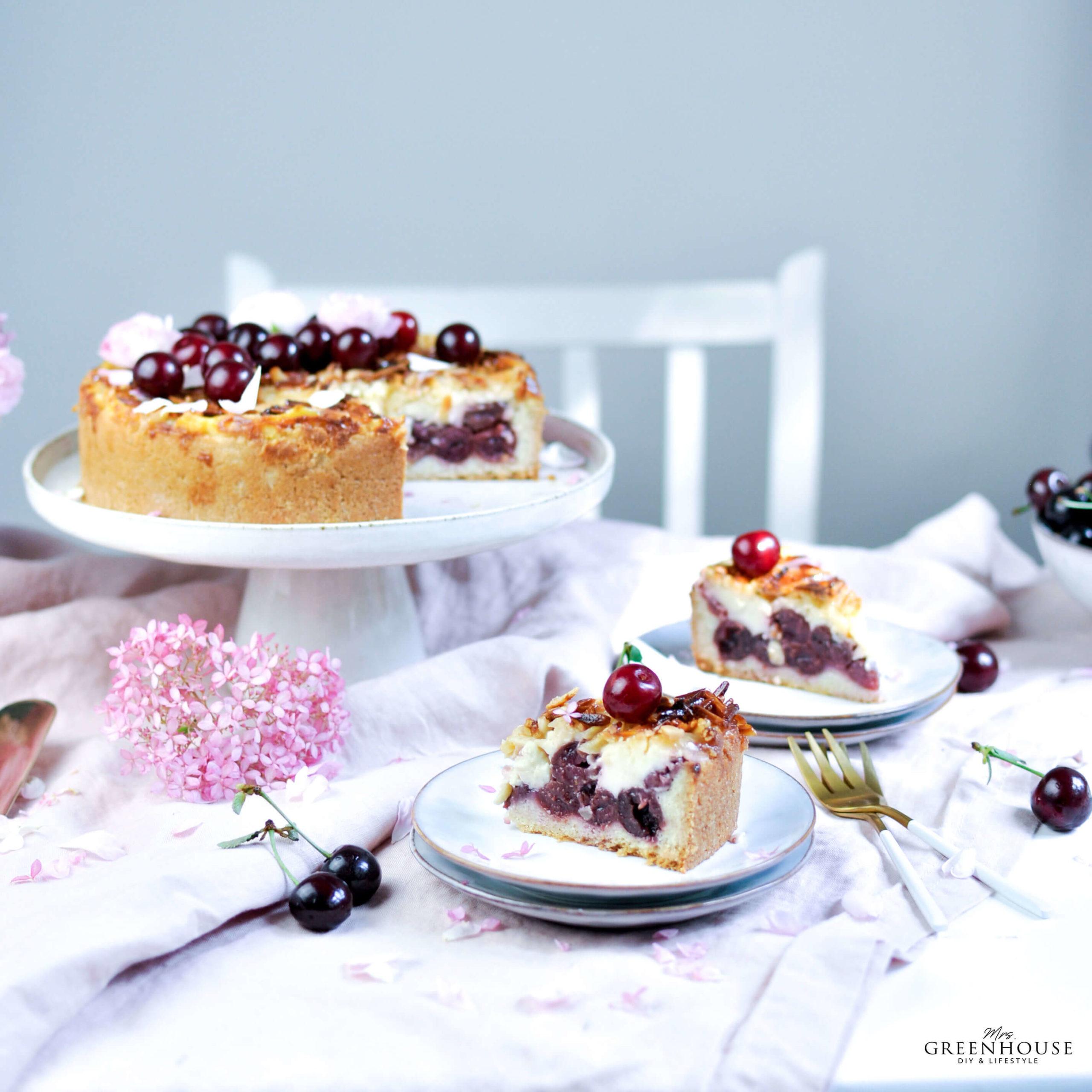 Kischkuchen mit Pudding und Mandelsplittern