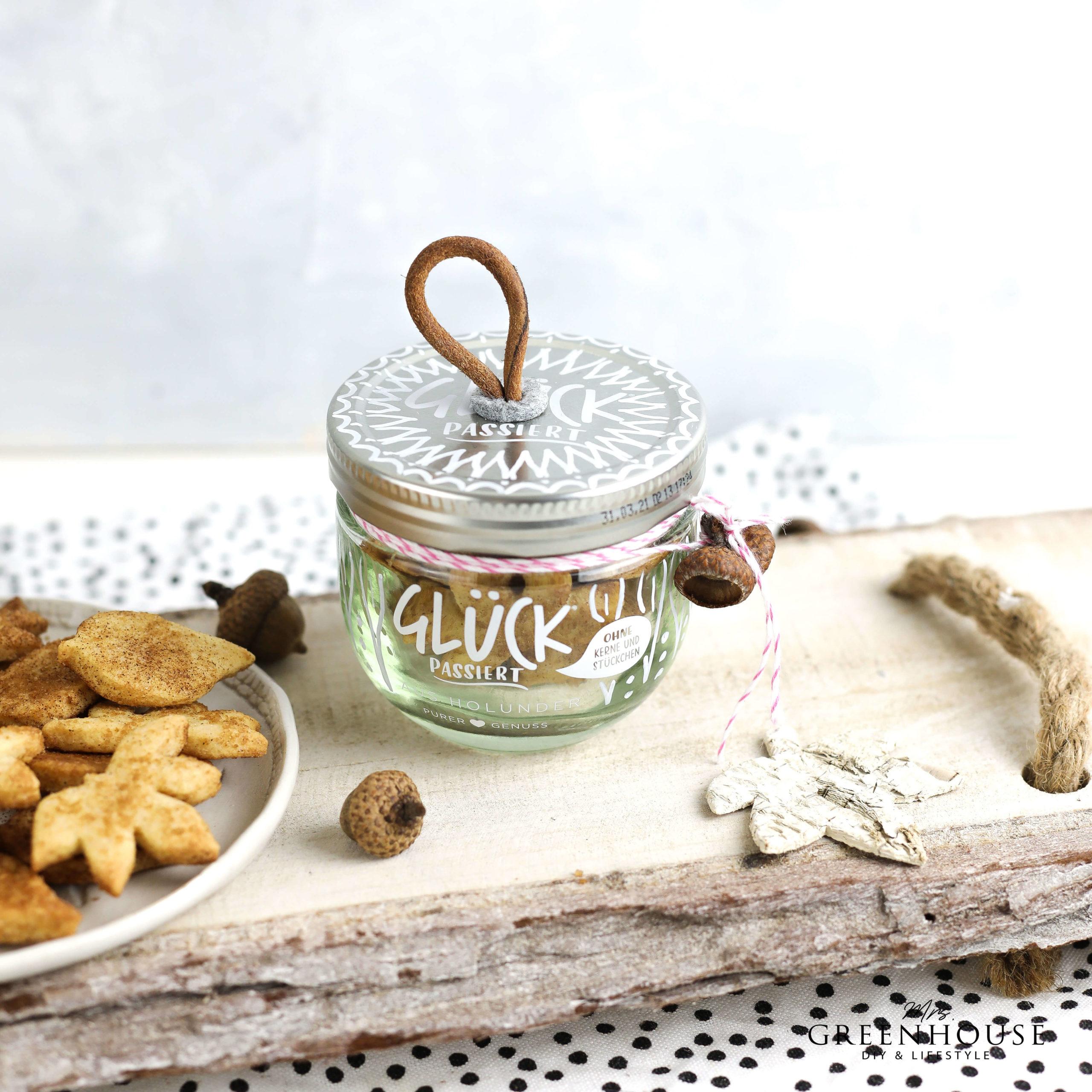 Marmeladenglas verzieren und Zimtblätterkekse