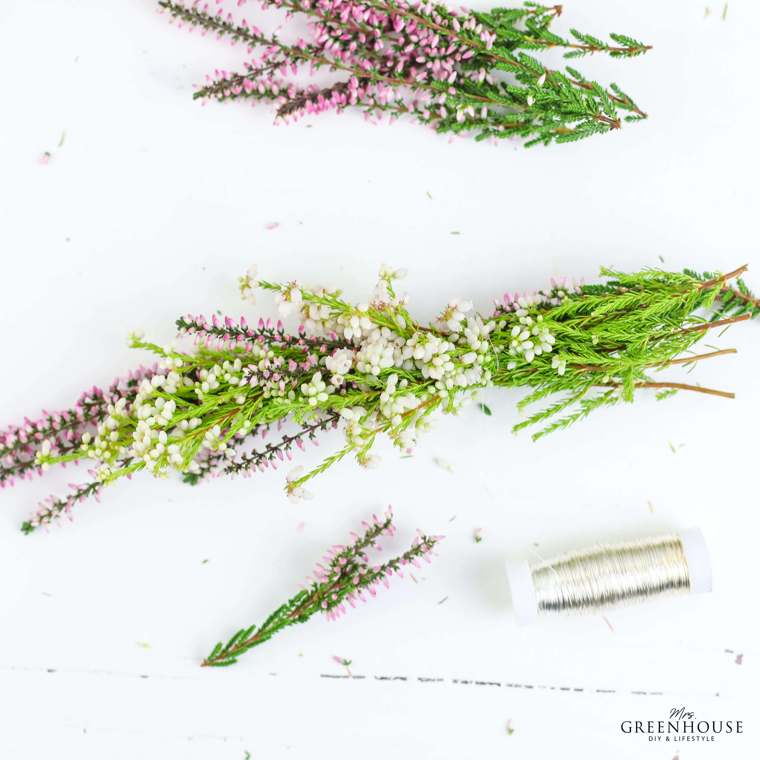 Heidekraut binden für Blumenkranz