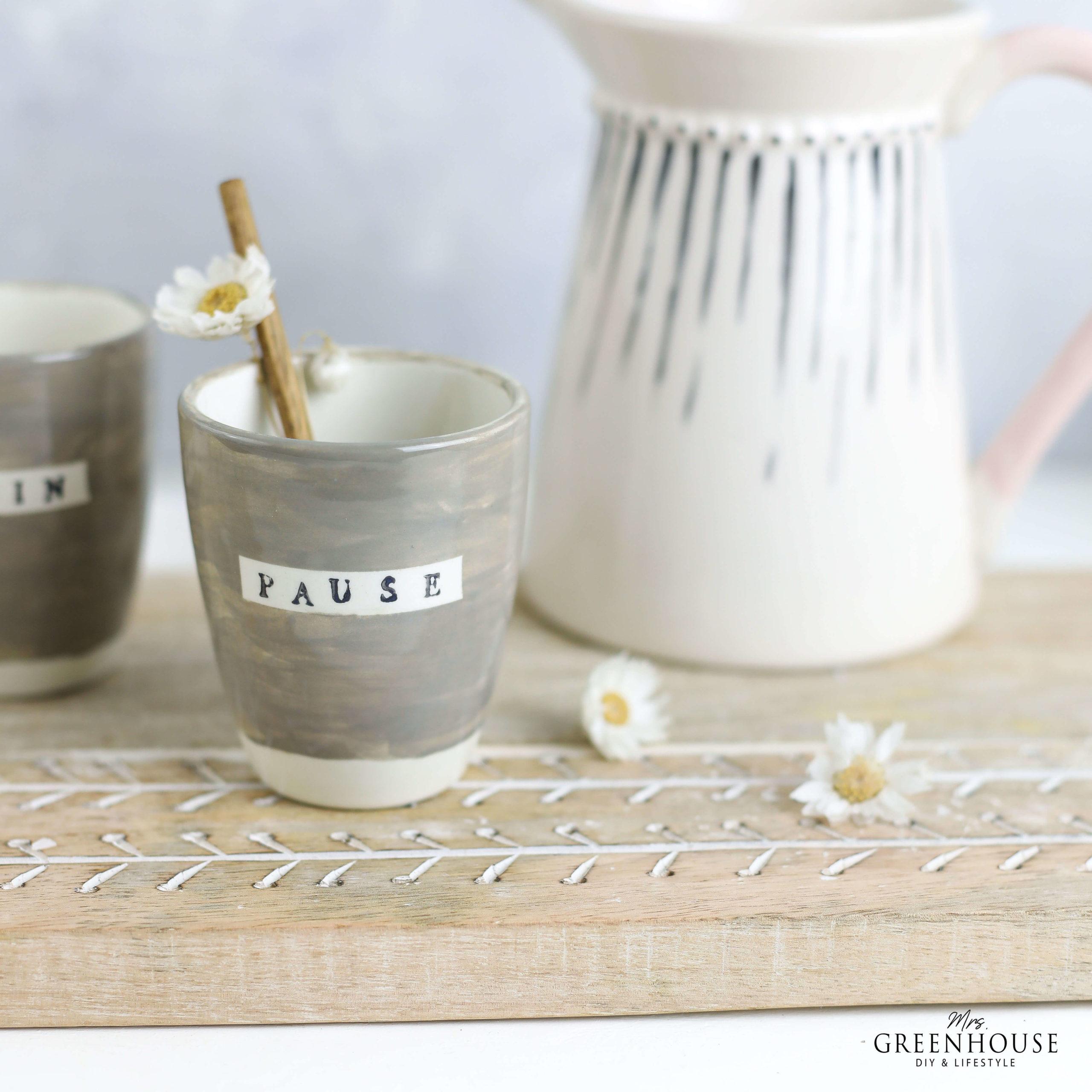 Keramik Becher bestempeln und bemalen