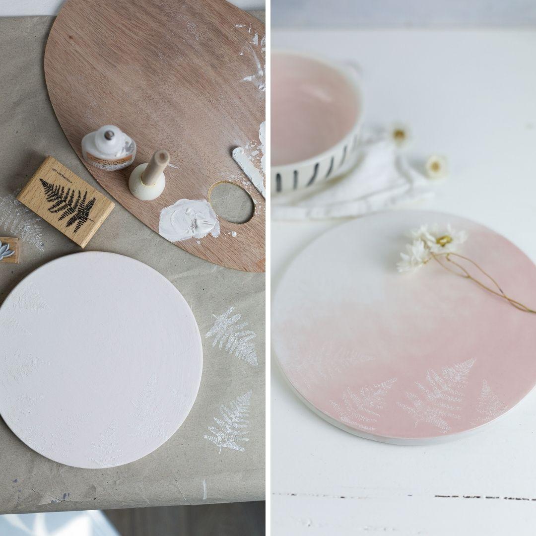 Keramik bestempeln und bemalen