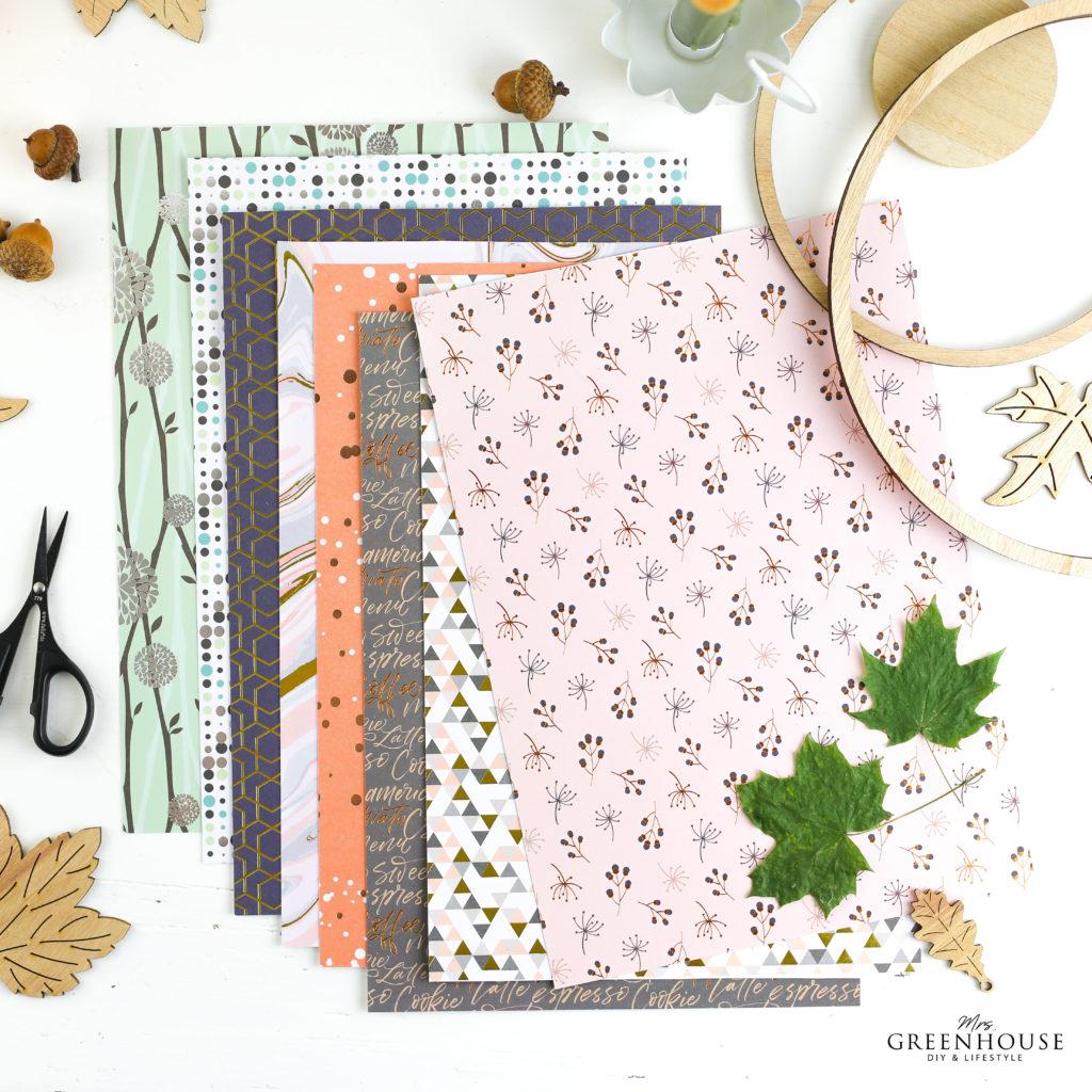 Designpapier für Blätter aus Papier