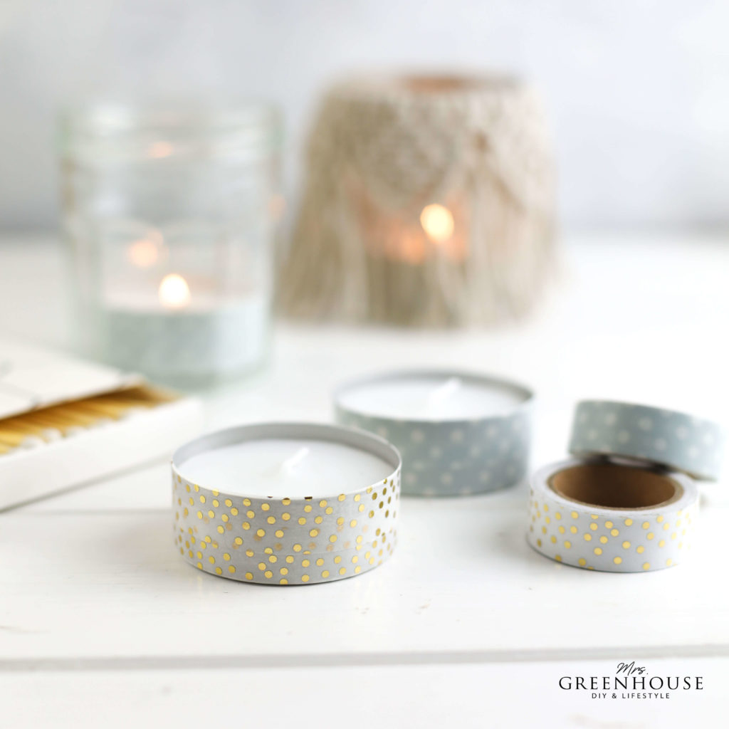 Teelichter mit Washitape bekleben