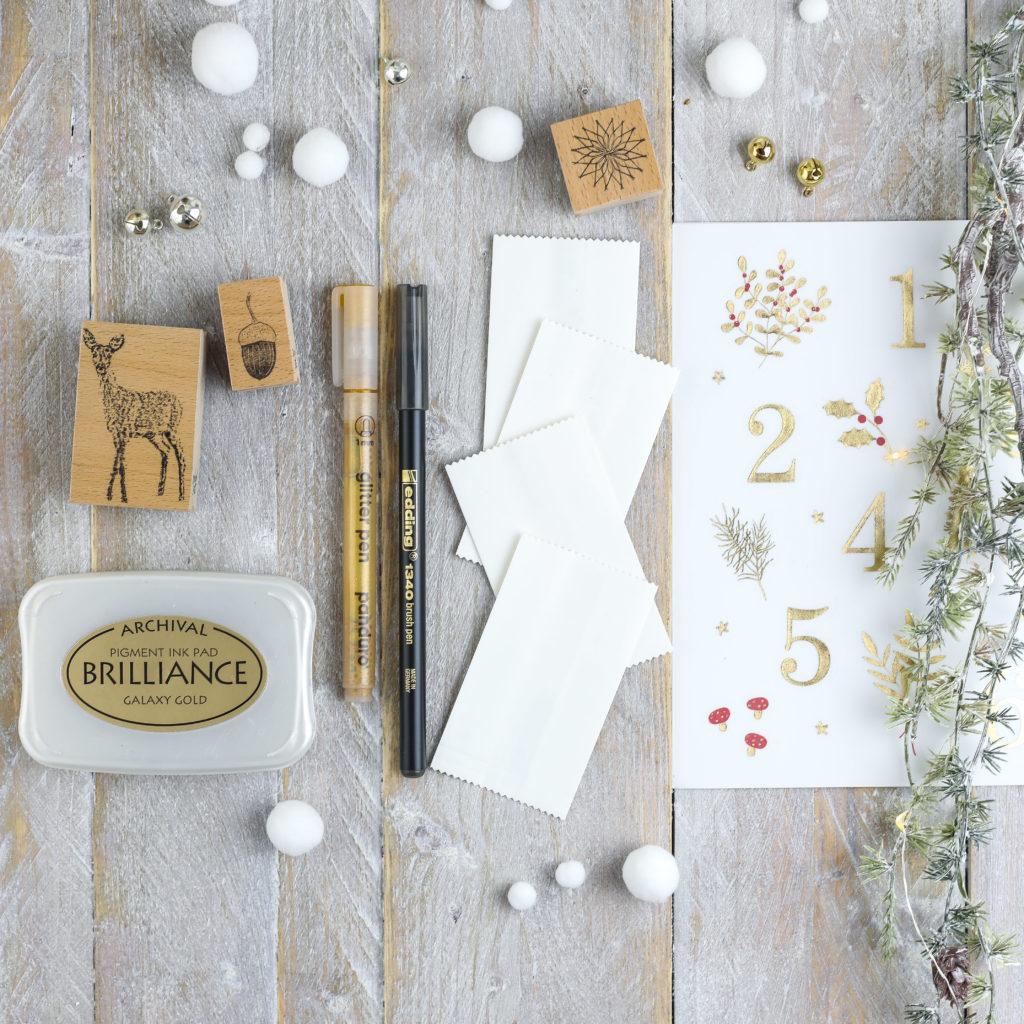 Material für Adventskalender mit Schneeflocken