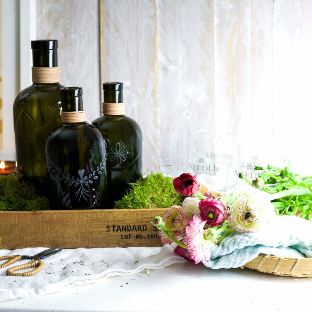 Frühlingsdeko mit Flaschen
