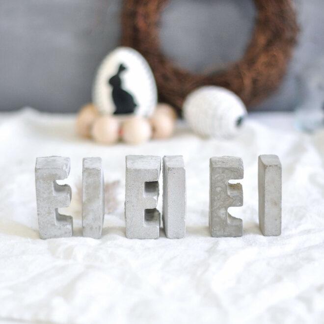 Osterdeko Ideen zum Selbermachen Betonbuchstaben