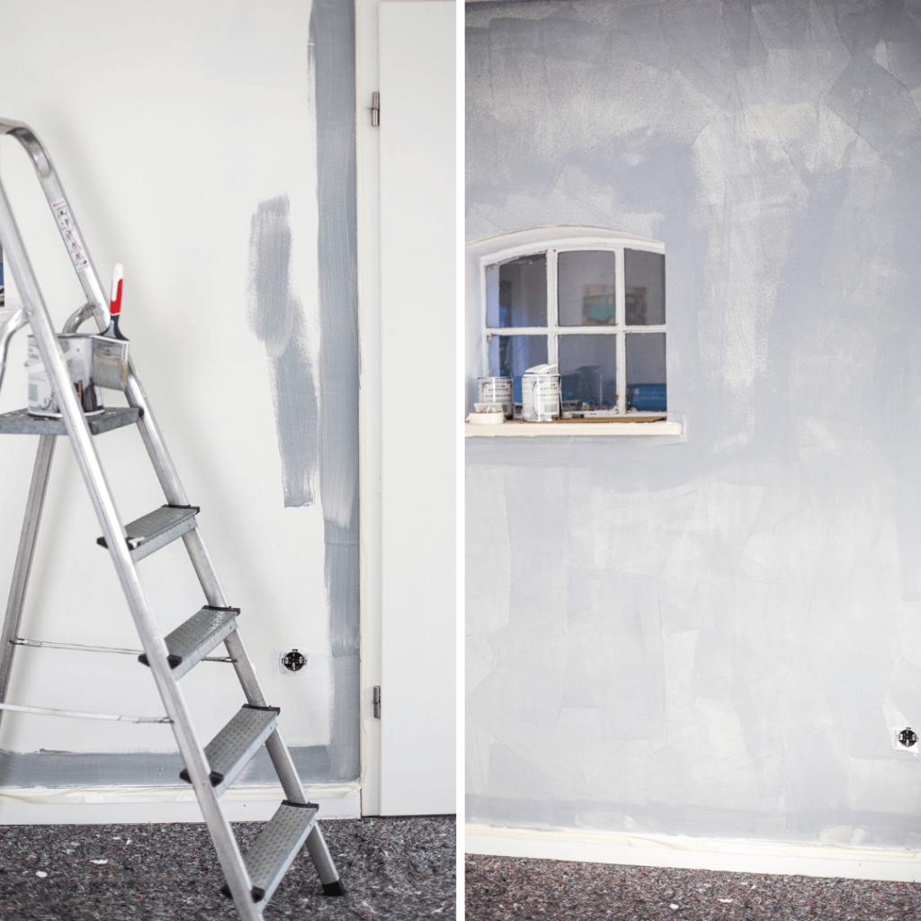 Wand mit Kalksteinfarbe streichen