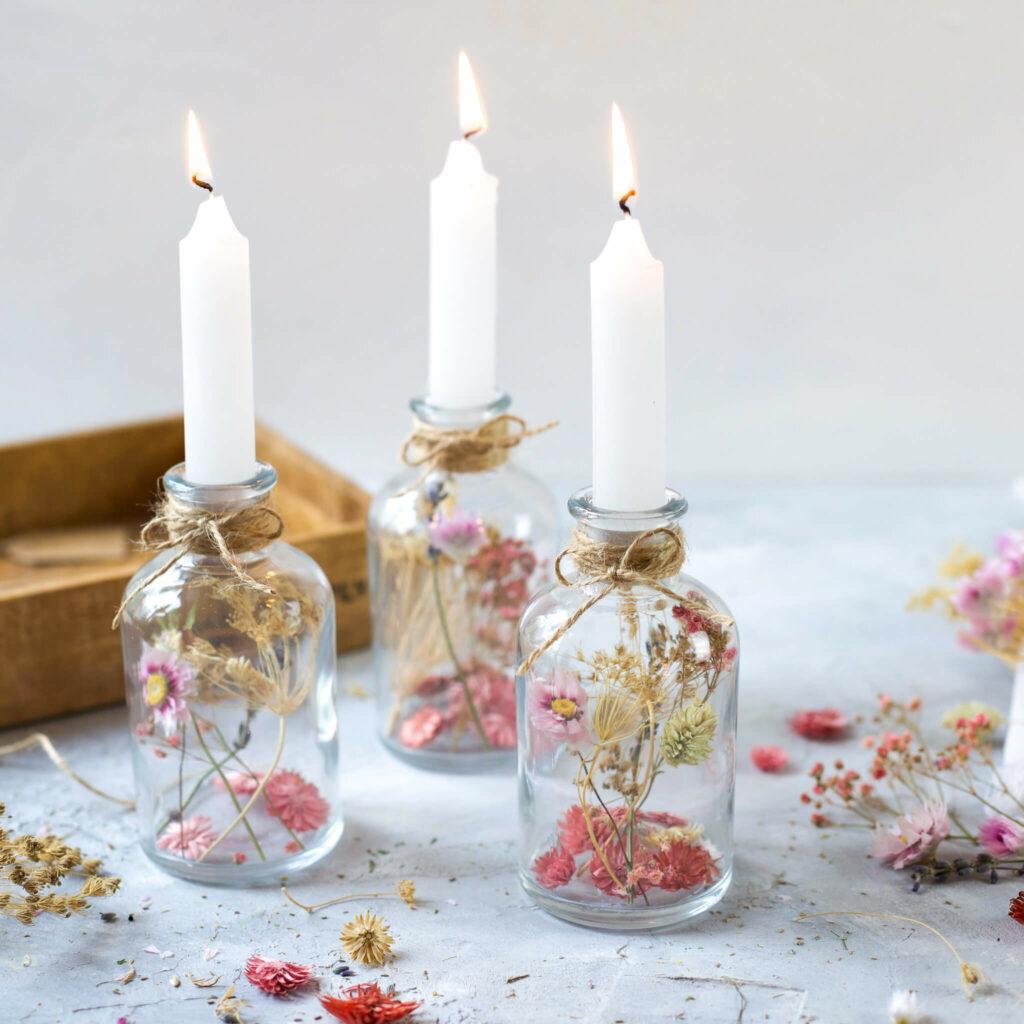 Trockenblumen Kerzenständer
