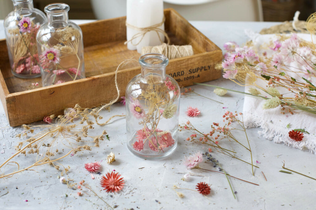drei Deko Ideen mit Trockenblumen