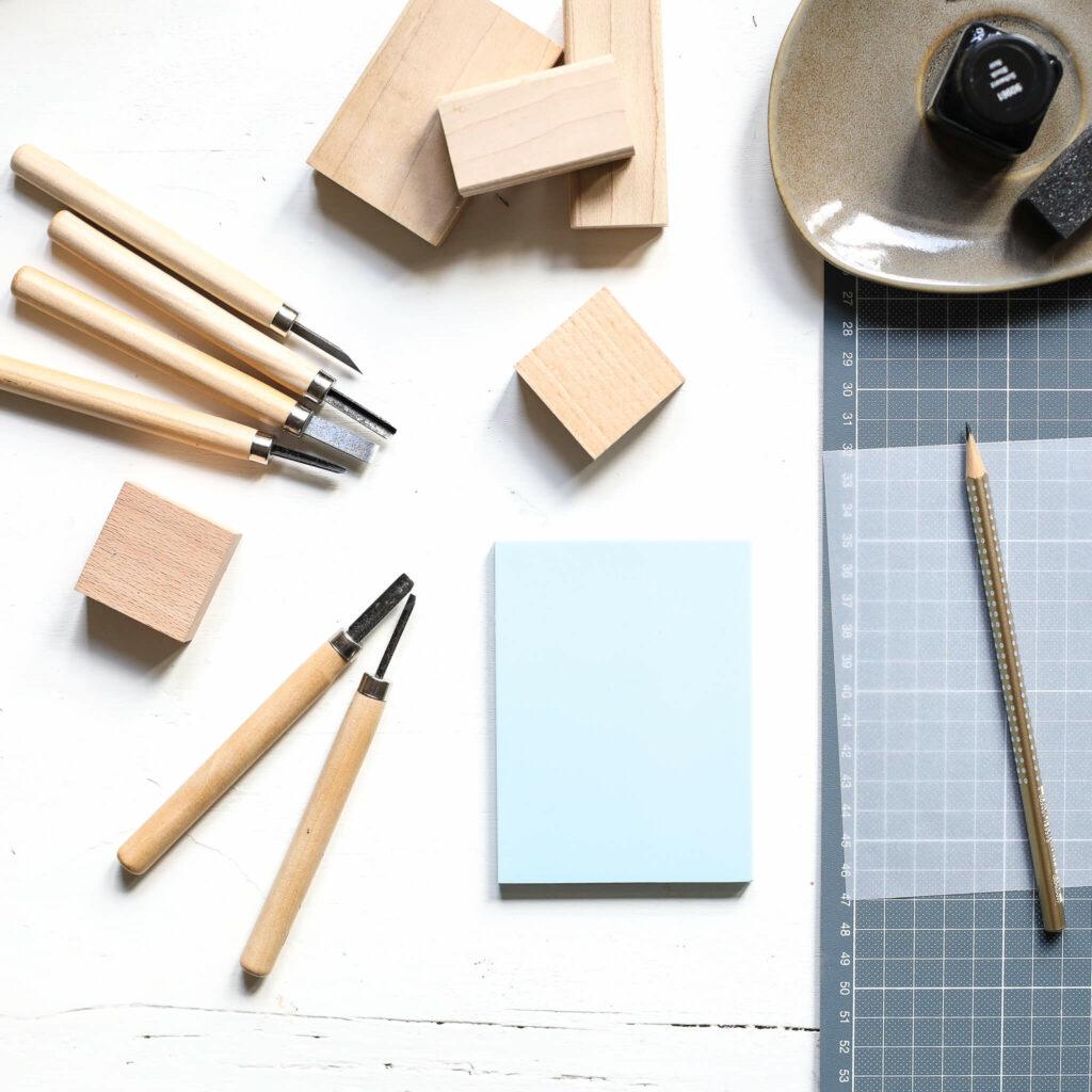 Material zum Stempelschnitzen für Skandi Tischset