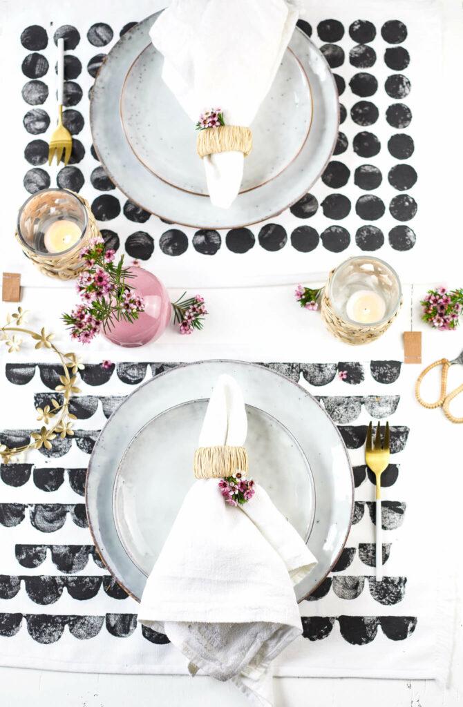 Tischset bestempeln im Skandi look