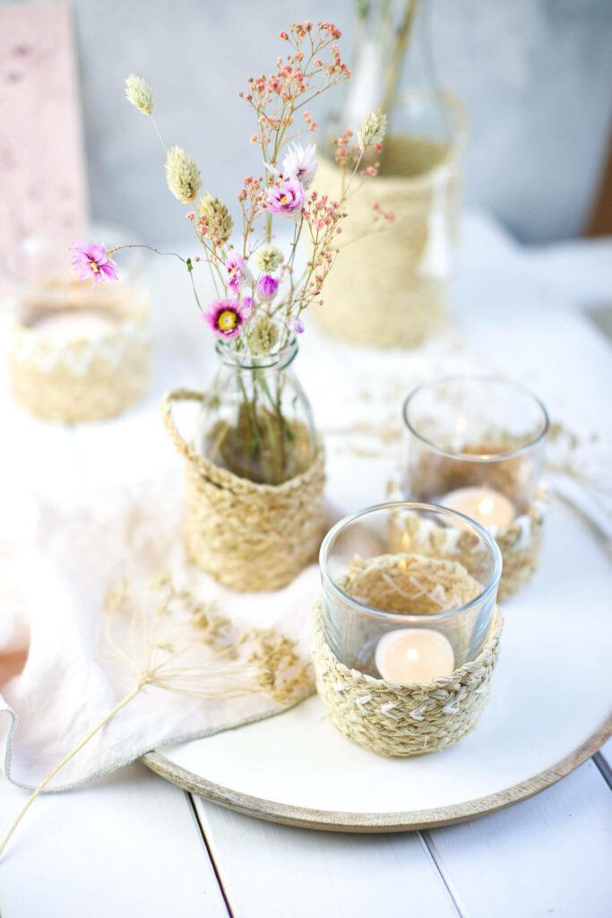 Boho Windlicht und Vasen aus Naturbast die