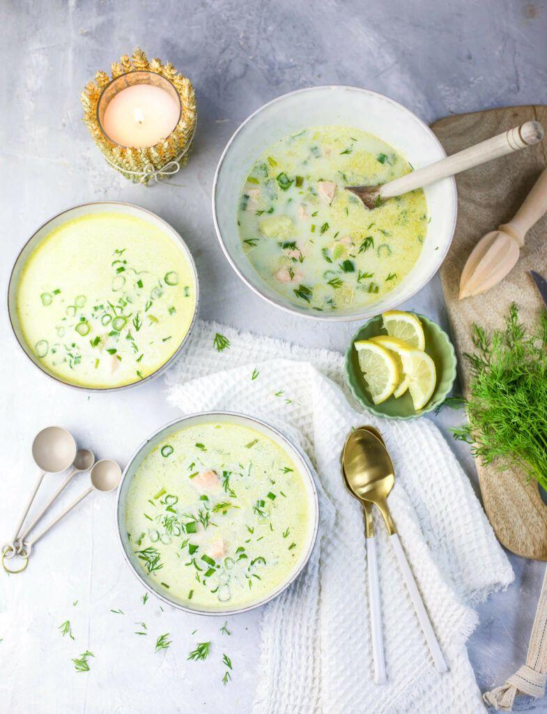 Schwedische Sommersuppe mit Lachs