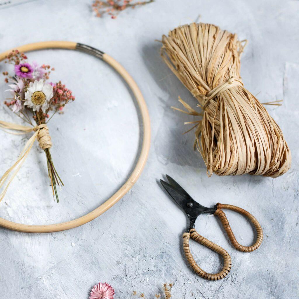 Material für Boho Trockenblumenkranz